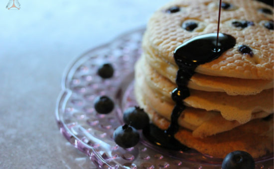 Blueberry Pancakes with Carob Syrup