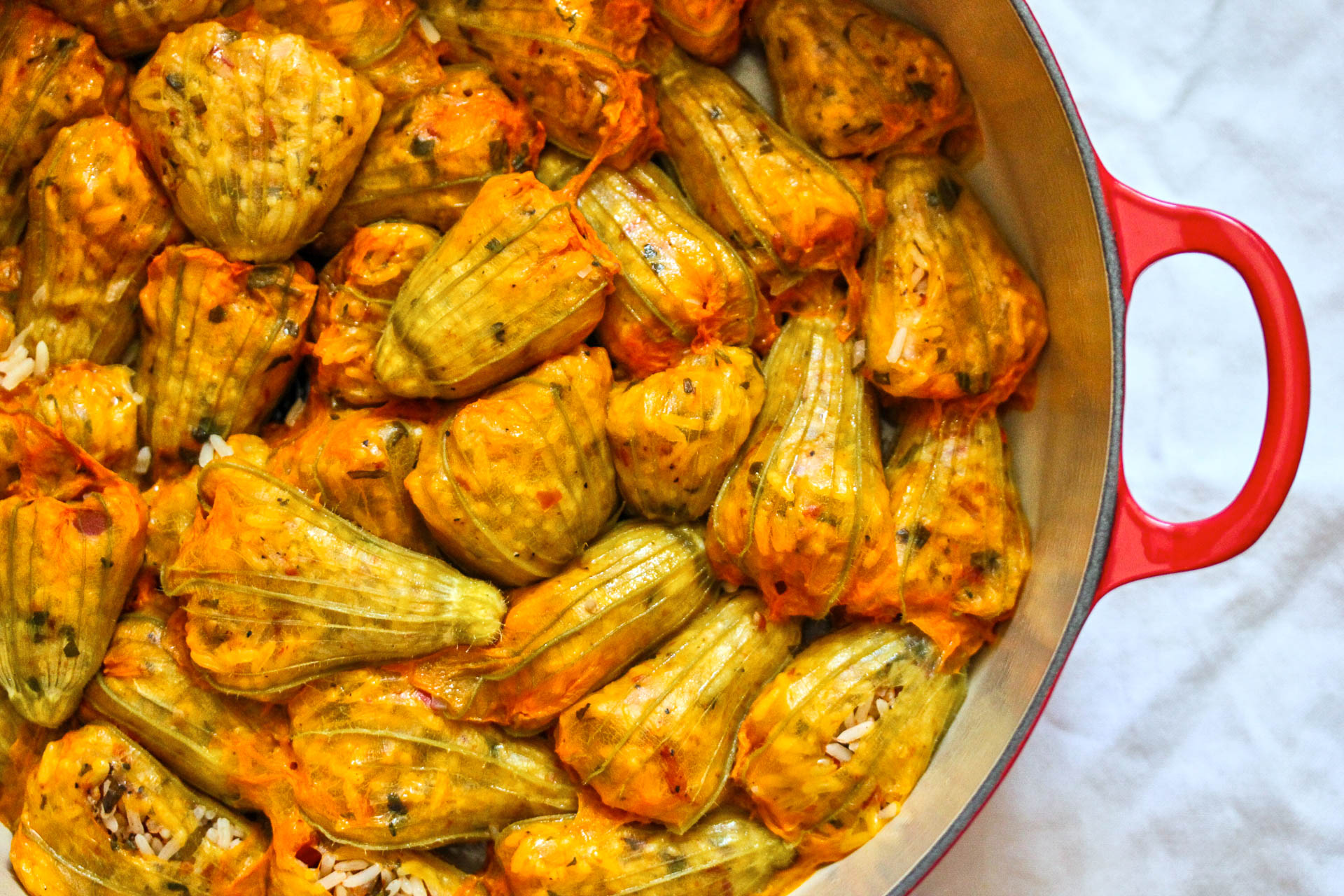 Stuffed Zucchini Flowers (Spicy Anthous)