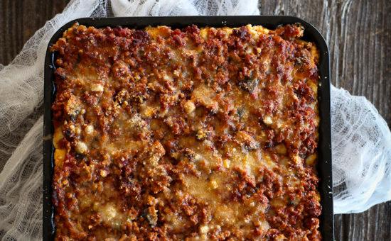 Lasagna with Spicy Cyprus Sausage