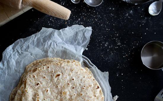 Whole Meal Tortillas with Kale-Feta Pesto