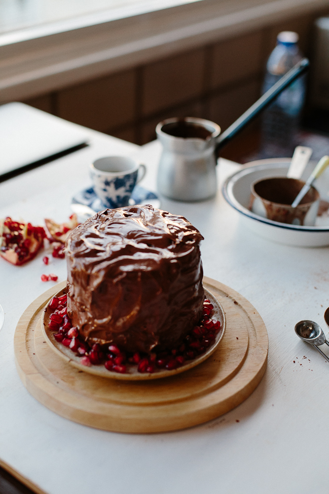 chocolate & pomegranate cake with Cyprus coffee-2753