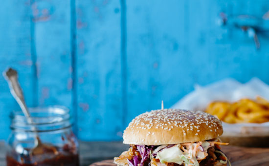 Pulled Pork Burgers with Caraway Coleslaw