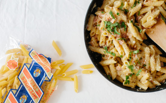 Penne Carbonara with Lountza Ham