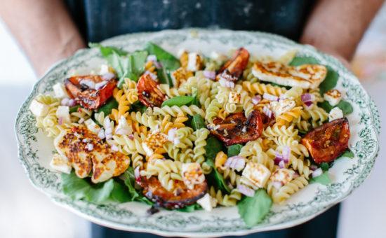 Halloumi & Roasted Tomato Tricolore Pasta Salad