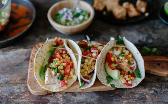 Cod Fish Tacos With Corn Salsa & Guacamole